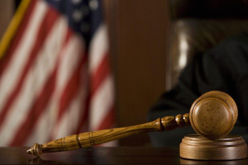 Court gavel on bench